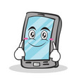 smile face smartphone cartoon character vector image vector image