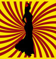 spanish girl silhouette over spanish flag vector image vector image