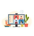 video conferencing virtual meeting desktop vector image vector image