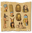 vintage colored ancient egyptian elements set vector image