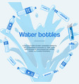 water bottles made plastic in circle banner vector image vector image