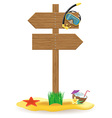 wooden pointer board and beach icons vector image vector image