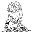 worker with pneumatic hammer vector image