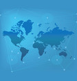 world map on blue background vector image vector image