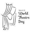 world theatre day card with curtains and masks vector image