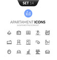 outline black icons set in modern design style vector image