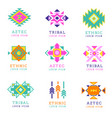 aztec or apache motif style logo set native vector image
