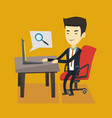 business man searching information on internet vector image