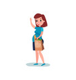 pregnant woman character walking with paper bag vector image