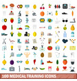 100 medical training icons set flat style vector image vector image