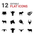 12 cow icons vector image vector image