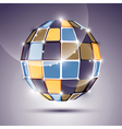 3D glossy mirror ball created from geometric vector image vector image