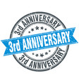 3rd anniversary round grunge ribbon stamp vector image vector image