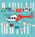 ambulance helicopter medical flat design vector image vector image
