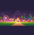 amusement park with circus tent and fireworks vector image