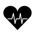 black icon heart beat pulse vector image