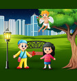 boys giving flowers to girls in the city park with vector image vector image