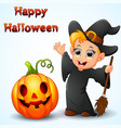 cartoon little witch waving and pumpkin vector image vector image