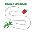 cartoon lizard draw a line game for kids vector image vector image