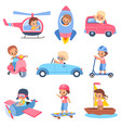 children drivers young happy kids characters in vector image