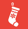 christmas stocking glyph icon new year vector image