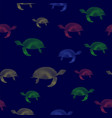 colored turtles icon seamless pattern vector image vector image