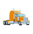 cool semi trailer truck with sleeper towing vector image vector image