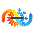 cooling the snowflake and heating the sun vector image vector image