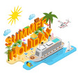 cruise ships travel and tourism concept 3d vector image vector image