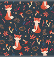 cute flat foxes seamless pattern vector image vector image