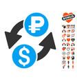 dollar rouble exchange icon with valentine bonus vector image vector image