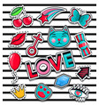 fashion icons collection set stickers pop art vector image