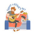 father playing guitar with vector image