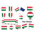 flag hungary big set icons and symbols vector image vector image