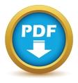 Gold pdf download icon vector image vector image