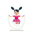 happy girl jumping rope vector image vector image