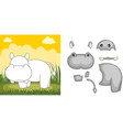 hippo puzzle vector image vector image
