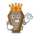 king coffin mascot cartoon style vector image