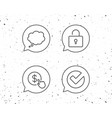 locker check and comic speech bubble line icons vector image vector image