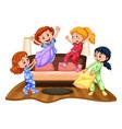 many girls at slumber party vector image vector image