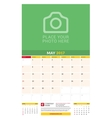May 2017 Wall Monthly Calendar for 2017 Year vector image vector image