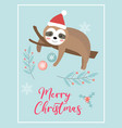 merry christmas cute card with sloth in santa hat vector image vector image