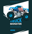 monster truck poster design template of retro vector image vector image