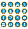 painting icons blue circle set vector image vector image