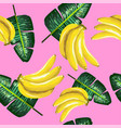 pattern bananas and green leaves on a pink vector image