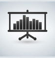 projector screen with graph chart icon vector image