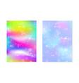 rainbow background with kawaii princess gradient vector image vector image