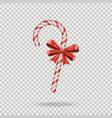 realistic christmas candy cane with red bow vector image