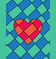 red-orange heart divided into parts on blue-green vector image