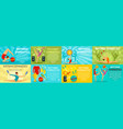 rhythmic gymnastics banner set flat style vector image vector image